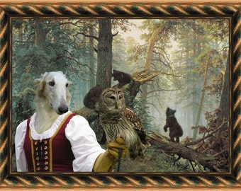 Borzoi - Russian Wolfhound ART Print/ Borzoi Portrait/CANVAS Print/Dog Painting/Custom Dog Art - Portrait By Nobility Dogs