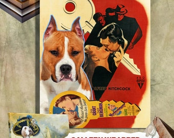 American Staffordshire Terrier Vintage Poster Canvas Print  - Notorious  Movie Poster by Nobility Dogs