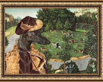 Spanish Greyhound - Galgo ART Print/Spanish Greyhound Portrait/CANVAS Print/Dog Painting/Custom Dog Art - Portrait By Nobility Dogs