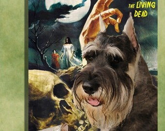 Schnauzer Vintage Art Poster Canvas Print  - Night of the Living Dead Movie Poster NEW Collection by Nobility Dogs