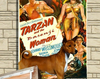 Basenji Vintage Movie Style Poster Canvas Print  NEW Collection by Nobility Dogs