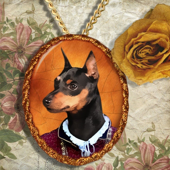 Miniature Pinscher Jewelry Brooch Handcrafted Ceramic by Nobility Dogs