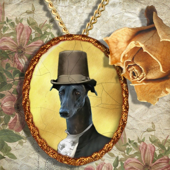 Greyhound Jewelry Pendant - Brooch Handcrafted Porcelain Dog Jewellery by Nobility Dogs