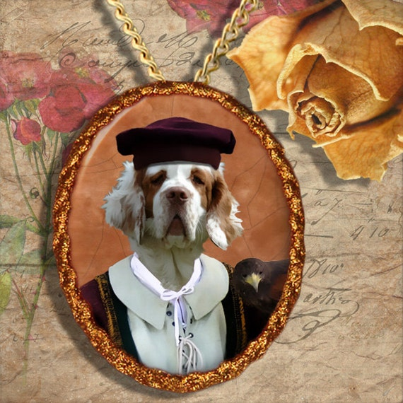 Clumber Spaniel Jewelry Brooch Handcrafted Ceramic by Nobility Dogs