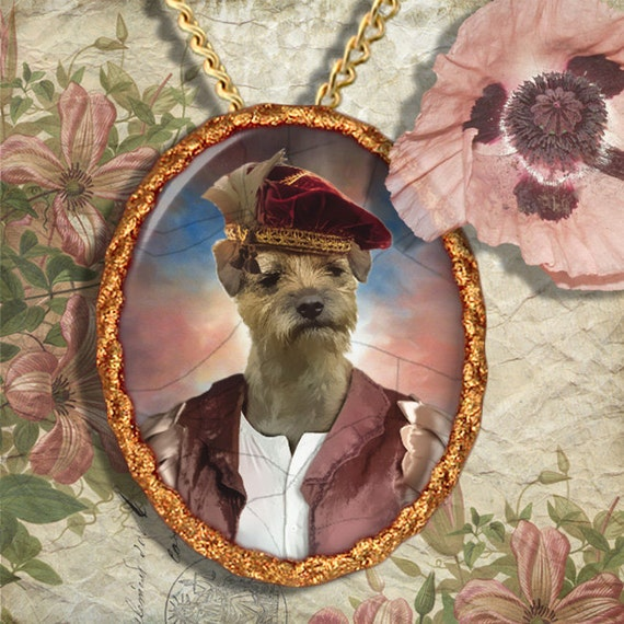 Border Terrier Jewelry Pendant - Brooch Handcrafted Porcelain Dog Jewellery by Nobility Dogs