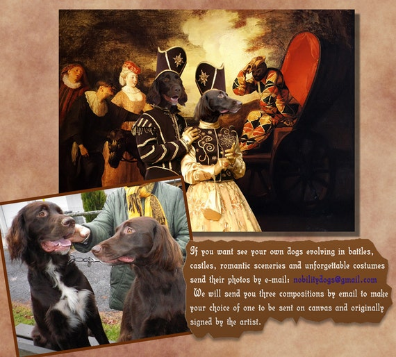 CUSTOM Original Nobility Dog or Cat Portrait Canvas Fine Art by Nobility Dogs
