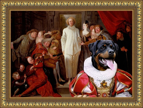 Rottweiler Dog Art CANVAS Print Fine Artwork of Nobility Dogs Dog Portrait Dog Painting Dog Art Dog Print