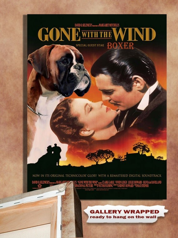 Boxer Dog Vintage Movie Style Poster Canvas Print  NEW Collection by Nobility Dogs