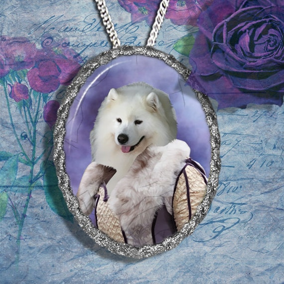 Samoyed Jewelry Pendant - Brooch Handcrafted Ceramic by Nobility Dogs