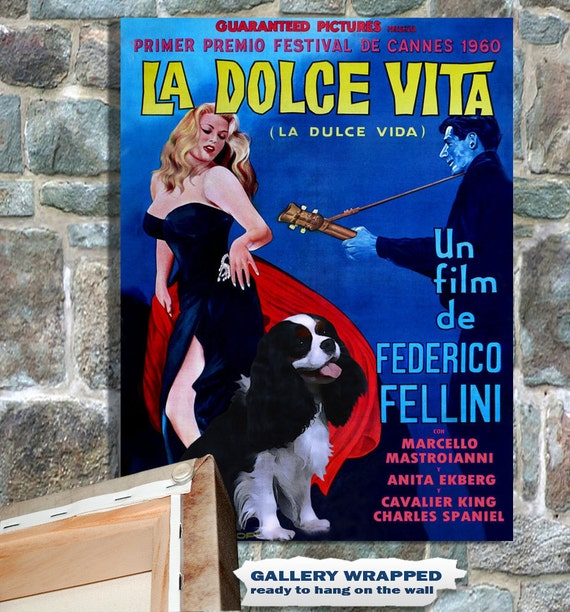 Cavalier King Charles Spaniel Vintage Movie Style Poster Canvas Print - La Dolce Vita NEW COLLECTION by Nobility Dogs