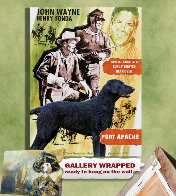 Curly Coated Retriever Print Fine Art Canvas - Fort Apache Movie Poster NEW COLLECTION by Nobility Dogs
