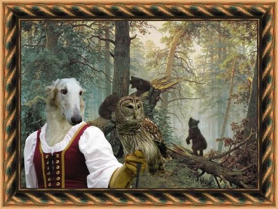 Borzoi Art Borzoi Dog Print Russian Wolfhound Borzoi Gift Borzoi Canvas Painting Borzoi Print  Custom Dog Portrait Nobility Dogs Art