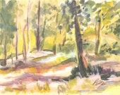 Forest Glow-Original watercolor by listed artist P.Seitz