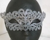 Silver Feathers Embroidered Mask