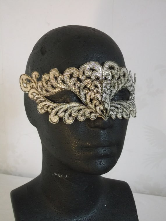 Golden Feather Embroidered Mask
