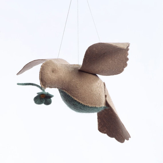 Beige/teal bird in flight kit, sewing kit, DIY sewing, crafts for kids, beginner sewing, bird ornament, hand sewing kit, bird mobile