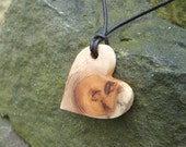 I LOVE YEW  Rustic Heart Pendant - Mothers Day Gift Boxed Hand Cut Yew Heart Pendant.