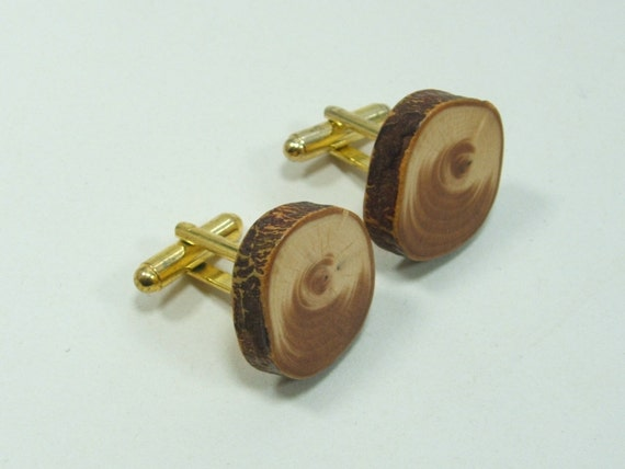 Natural Yew Cuff Links Handcrafted in Scotland. Gift Boxed.