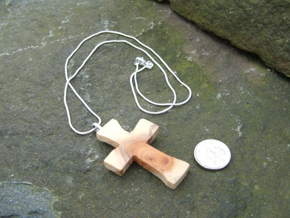 May God Be With YEW. Quirky Rustic Cross Pendant - Easter Gift Boxed Hand Cut Yew Cross Pendant.