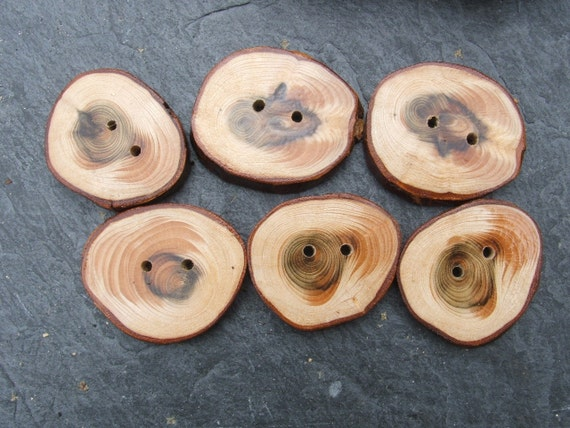 2 inch Handcrafted Redwood Buttons x 6