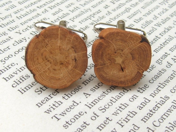 Scottish Oak Flower Cuff Links Handcrafted in Scotland. Gift Boxed. Organic, Eco Friendly Natural Wood Cufflinks.