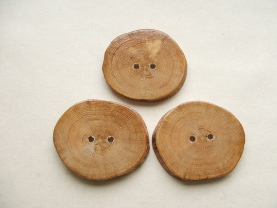 Large 2 1/2 inch Focal Point Rustic wooden Oak Flower Buttons
