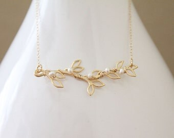 Branch & Pearl Necklace // Gold or Silver