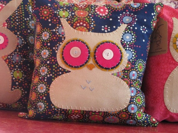 Blue Modern Fabric Owl Pillow by amerrysundayknight on Etsy