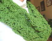 Green Infinity Cowl, Fern Green Crochet Scarf, Shell Stitch Neck Warmer