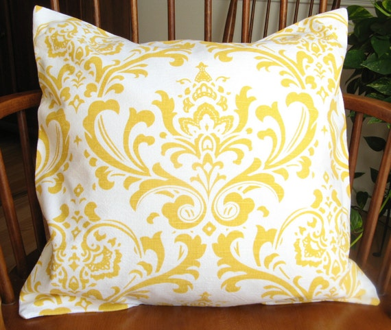 Golden Yellow Pillow Cover, Gold and White Washable Slipcover, 18 Inch