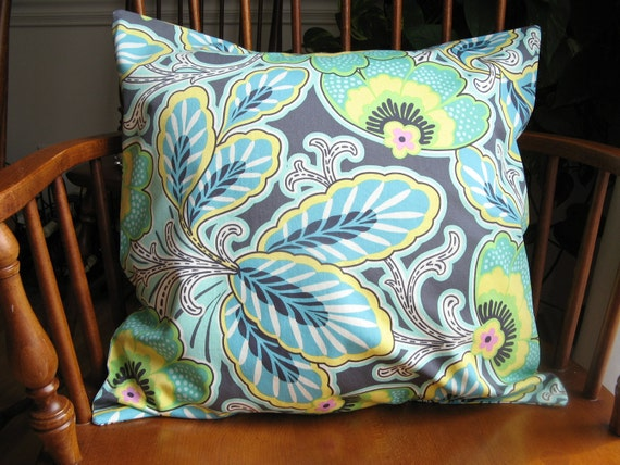 Floral Pillow Cover, Amy Butler Slipcover, Made to Order, Gray Aqua Leaves, 18 Inch