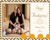 Modern Chevron Happy Thanksgiving Photo Family Card  - Printable or Email