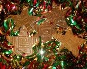 Rustic ceramic ornaments textured Santa Fe style