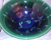 Large electic blue and emerald green bowl with glaze crystals