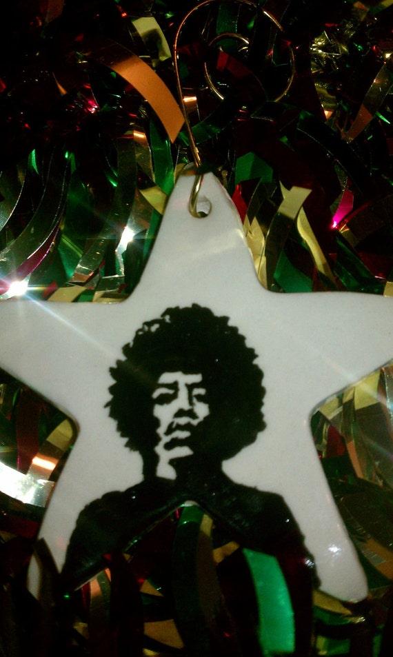 hand painted Jimi Hendrix  Christmas ornament