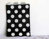 Black and white polka dot  party bags, treat, bitty, gift, party favor,  bags, party supplies,candy buffet, wedding candy bags,sweet shop