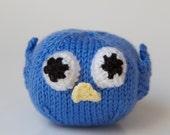 Knitted Toy Blue Bird Stuffed Animal, Amigurumi, Handmade knitting, Ball, Plush
