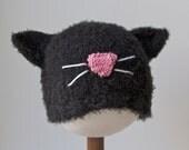 Black Cat Hat, Infant sizes, Warm Winter knitting, Kitty Halloween costume