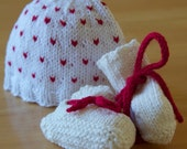 Baby Love Hat and Booties set, newborn size 0-3 months, red heart, knitting, gift set