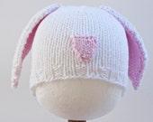 White Bunny Baby Hat, Infant Toddler Child sizes, Easter, handmade knitting