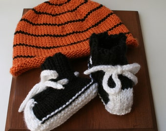 Baby Basketball Knitted Hat and Hightop Booties, size 0-3 or 3-6 months, gift set, Handmade knitting