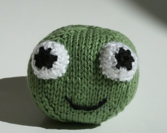 Stuffed Animal Frog Toy, Amigurumi, Handmade Knit Plush Ball