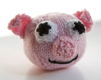 Knitted Toy Pig, Plush Stuffed Animal, Ball, Amigurumi, Handmade Knitting