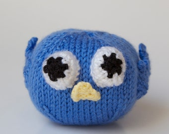 Knitted Toy Blue Bird Stuffed Animal, Amigurumi, Handmade knitting, Ball, Plush