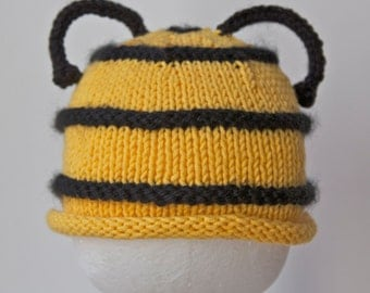 Baby Bumblebee Knitted Hat, Infant Toddler sizes, Halloween costume, Handmade Knitting