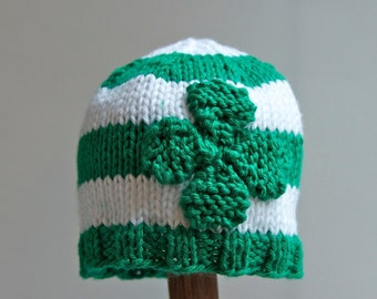 4 Leaf Clover knitted baby hat, St. Patrick's Day gift, sizes newborn-12 mos, Irish, shamrock, green, knitting