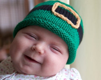 Leprechaun knitted baby hat, St. Patrick's Day gift, sizes newborn-12 months, lucky, Irish, knitting