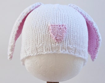 White Bunny Knitted Baby Hat, Infant Toddler Child sizes, Easter, handmade knitting