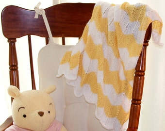 Baby blanket, yellow white chevron stripes, lightweight, knitting