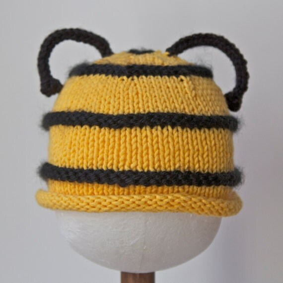 Baby Bumblebee Hat, Infant Toddler sizes, Halloween costume, Handmade Knitting